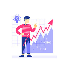 Successful investor growth arrow investment vector