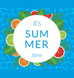 summer time banner design with white circle vector image