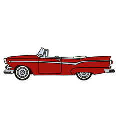 The funny old red american convertible vector