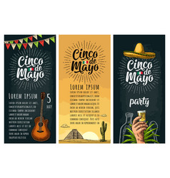 Three vertical poster for cinco de mayo vector