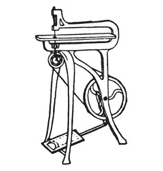 Treadle fret saw a type of fret saw vintage vector