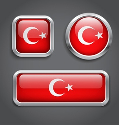 Turkey flag glass buttons vector