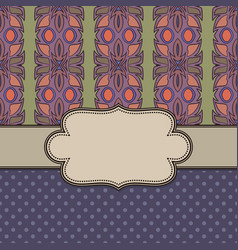 vintage ethnic abstract flower frame with text vector image