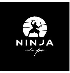 vintage ninja warrior moon logo design template vector image