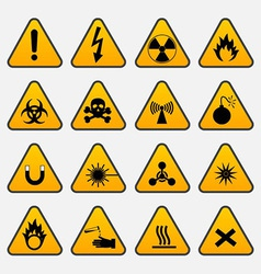 warning hazard triangle signs vector image