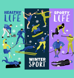 winter sports vertical banners vector image