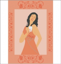 woman with drink vector image