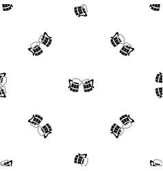 wooden beer mugs pattern seamless black vector image