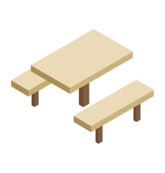 Wooden table and bench 3d isometric icon vector