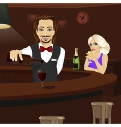 Young bartender pouring red wine into glass vector