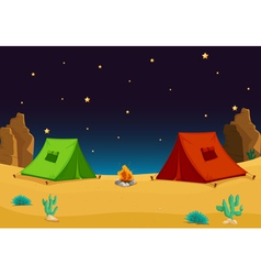Camping in the desert vector image vector image