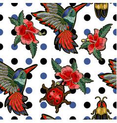 embroidery hummingbird vector image