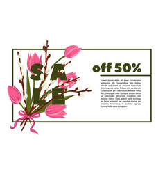 floral tulip and pussy willow hand drawn colored vector image vector image