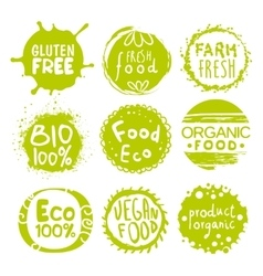 Green Eco Food Lables Set vector image vector image