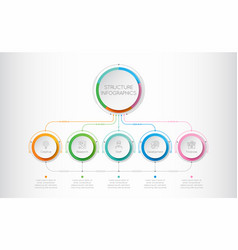 infographics template with a five structure vector image