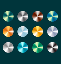 metallic silver and gold conical metal gradients vector image