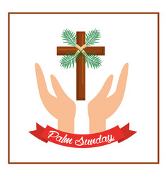 palm sunday passion christ hands with cross vector image