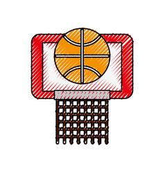 scribble basket ball in the hoop cartoon vector image