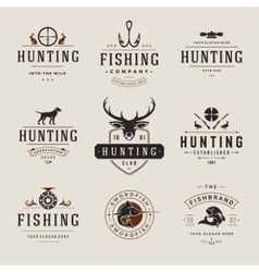 Set of Hunting and Fishing Labels Badges Logos vector image