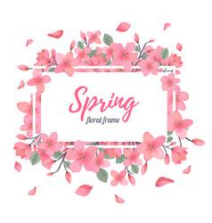 tender floral summer or spring frame template vector image vector image