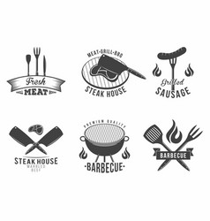 bbq set of grill and barbecue restaurant logo vector image vector image