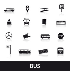 bus transport icons set eps10 vector image