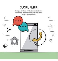 colorful poster of social media with icons speech vector image vector image