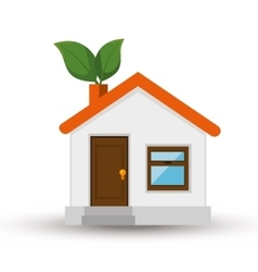 Eco house isolated icon vector