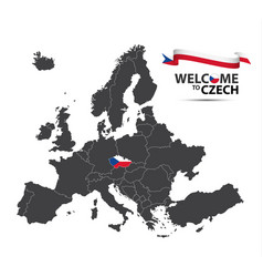 map of europe with the state of czechia vector image