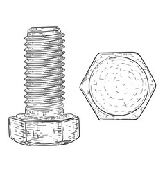 metal bolt with hex head drive hand drawn sketch vector image