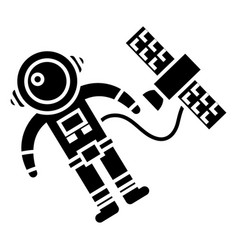 spaceman in space with spaceship icon vector image