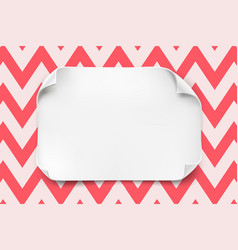 white paper sheet with curved corners and vector image