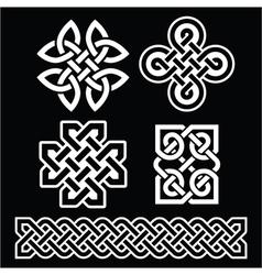 Celtic Irish patterns and braids on black vector image