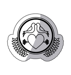 monochrome sticker with heart crossed by arrow in vector image