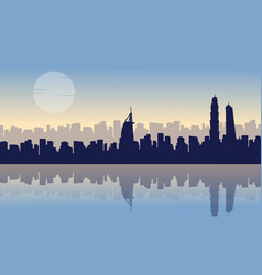 Scenery dubai with reflection silhouettes vector