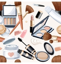 Seamless pattern from cosmetics objects in bege vector image