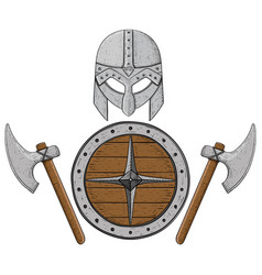 viking axes shield and helmet hand drawn colored vector image vector image