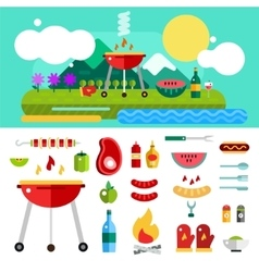 Barbecue and Food Outdoor Objects set vector image