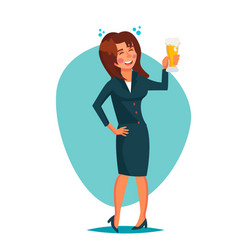drunk office woman corporate party funny vector image