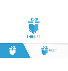 gift and shield logo combination present vector image vector image