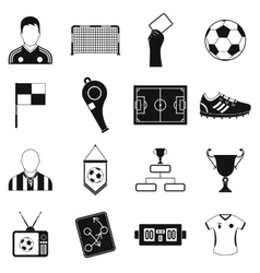Soccer black simple icons set vector image