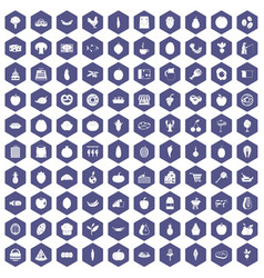 100 natural products icons hexagon purple vector image