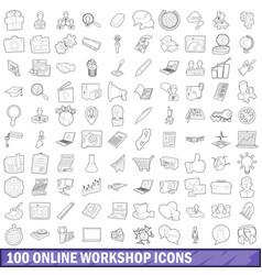 100 online workshop icons set outline style vector image