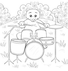 a children coloring bookpage a cute playing bear vector image