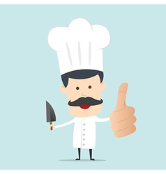 A male chef with a knife on hand vector