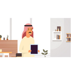 Arab business man holding empty tablet computer vector