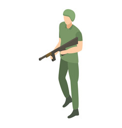 Army modern soldier icon isometric style vector