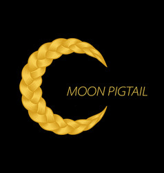 Beautiful blonde pigtail moon curly wavy vector