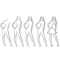 Beautiful female contour in drawing sequence vector