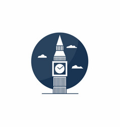 Big ben tower icon english school logo concept vector
